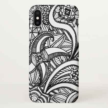 Black And White Doodle Phone Case Zazzle Com Black And White