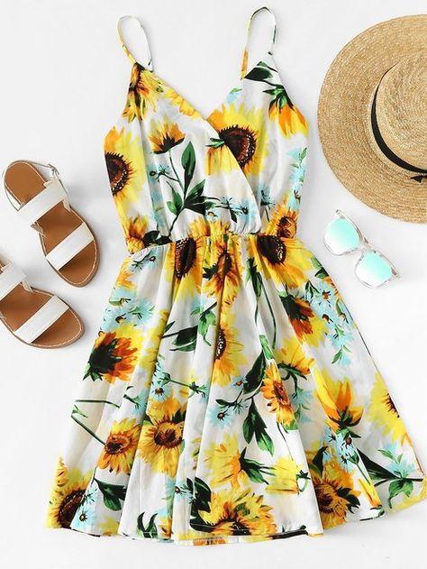 6f2c945ccd Sunflower Print Cami Casual Dress