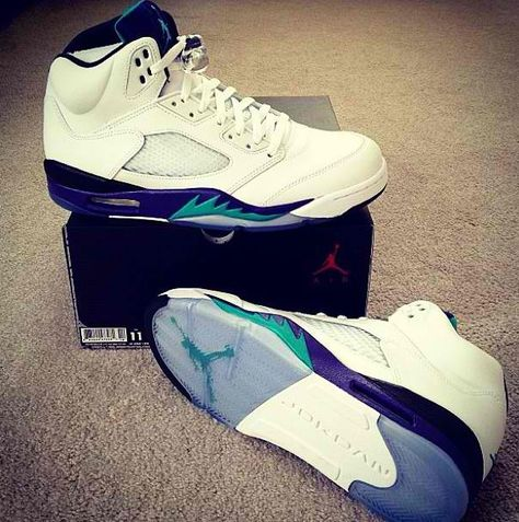 Purple and turquoise Jordans