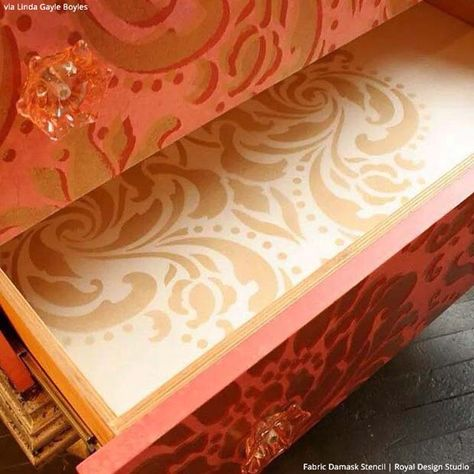 """Read on for how """"Stenciled Suprises are Great Painted Furniture Ideas"""" - Stenciled drawers via Linda Gayle Boyles 