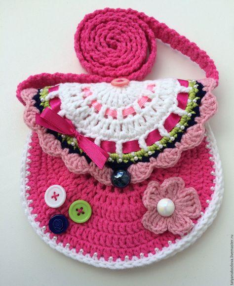 7513f198a249 Купить Сумочка для девочки Малиновый кошелек - фуксия, абстрактный, сумочка  ручной работы, сумочка крючком