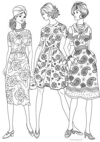 Pin Van Coloring Pages For Adults Op Coloring Clothes Fashion Kleurboek Kleurplaten Vintage Tekens