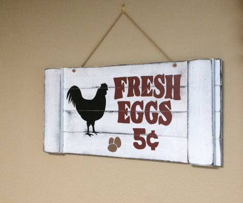 Plaques & Signs Eggs Sign Farm Fresh Egg Country Rustic Wood Signs Plaque Chicken Coop Barn Hen Home, Furniture & DIY