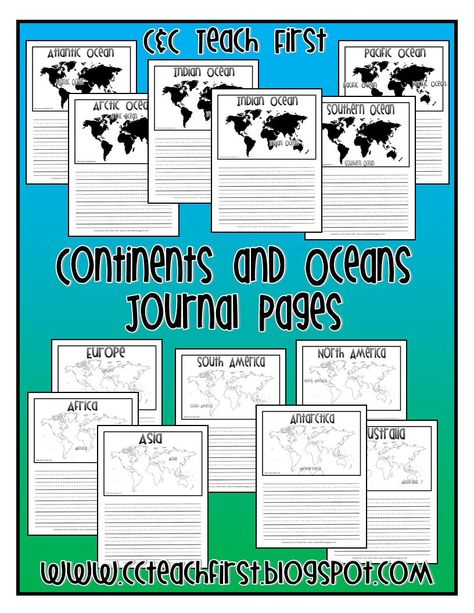 Continents and Oceans Journal pages