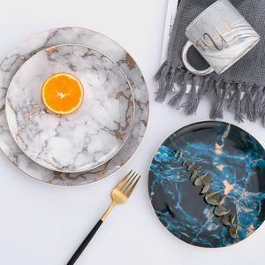 1pcs Tableware Marble Plates Ceramic Dinner Set Gold Inlay Porcelain Dessert Plate Steak Salad Snack Cake Pla Ceramic Dinner Set Ceramic Plates Dinnerware Sets