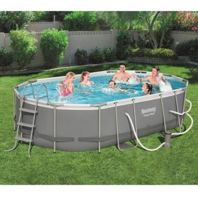 Bestway Bestway Power 16 Ft X 10 Ft X 3 5 Ft Above Ground Pool Set With Pump And Powercell Vacuum Gr Swimming Pools Above Ground Swimming Pools Oval Pool