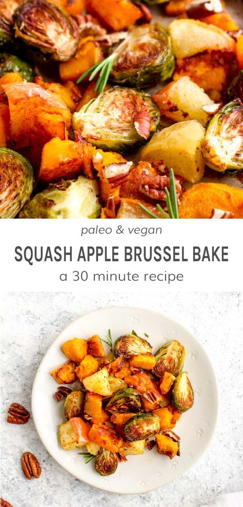 Butternut Squash, Apple, and Brussel Sprout Bake is full of caramelized veggies, Fall inspired seasonings, and ready in 20 minutes with just one pan. Paleo, vegan, gluten free, grain free, and healthy! #butternutsquashrecipe #squashrecipe #applerecipe #brusselsproutrecipe #roastedvegetables #easysidedish #glutenfreerecipe #veganrecipe #paleorecipe | DarnGoodVeggies.com