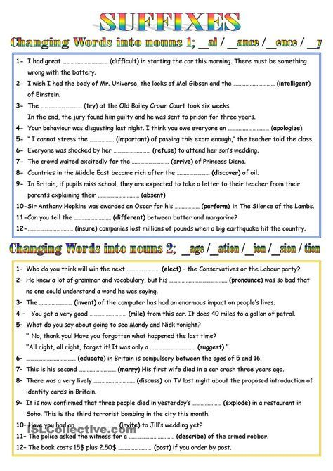 Word Formation Nouns 1 Avec Images Apprendre L Anglais