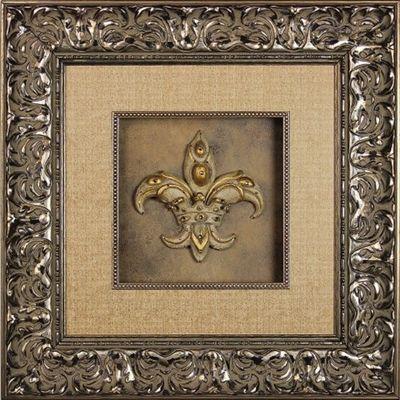 Visser Jeweled Fleur De Lis Framed Picture 23 X 23 Shop Www Crownjewel Design Framed Art Framed Artwork Tuscan Style