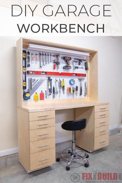 Diy Garage Workbench With Storage Workbench With Storage Garage
