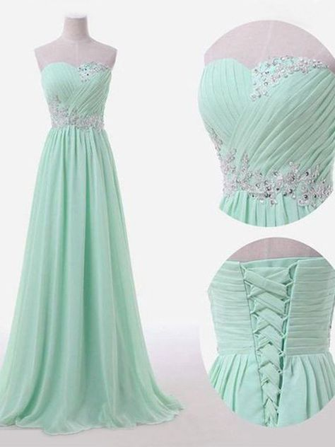 Chiffon Bridesmaid Dress With Beading,Classic A-Line Bridesmaid Dress,Sweetheart Floor Length Prom Dress,Sky Blue Bridesmaid Dress,Sleeveless Prom Dress - Chiffon Bridesmaid Dresses & Gowns: Long and Short Simple Bridesmaid Dresses, Cute Prom Dresses, Cheap Evening Dresses, Ball Dresses, Pretty Dresses, Dress Prom, Dress Long, Braids Maid Dresses, Evening Gowns