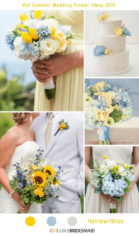 8 Hottest Summer Wedding Flowers Ideas for 2019 - Yellow and Blue wedding palette 8 Hottest Summer Wedding Flowers Ideas for 2019 Wedding Ceremony Flowers, Wedding Flower Arrangements, Wedding Bouquets, Flower Bouquets, Wedding Arbors, Purple Bouquets, Bridesmaid Bouquets, Spring Wedding Flowers, Peonies Bouquet