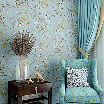 Blooming Wall Vintage Flower Trees Birds Wallpaper For Livingroom Bedroom Kitchen 57 Square Ft Vintage Blue Amazon Com