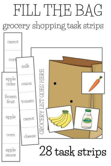 Life Skills Math Shopping Vocational Skills Laminate For Continued Use Students Practice Filling The Shopping Bag With A Gi Life Skills Task Cards Skills Vocational skills worksheets
