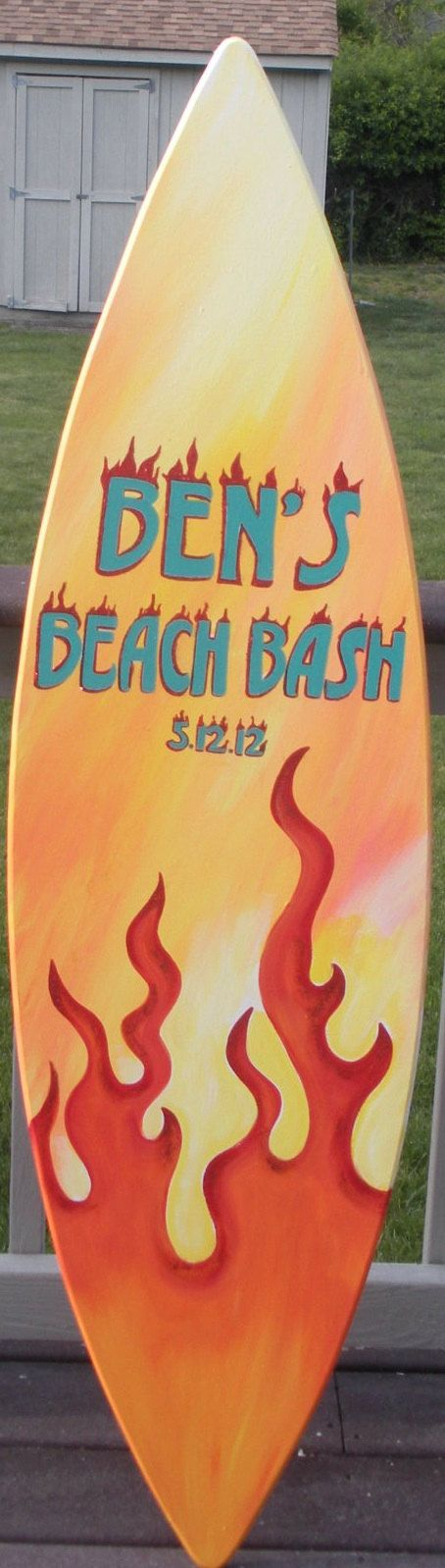 5ft decorative surfboard surf beach wood wall art sign personalized ...