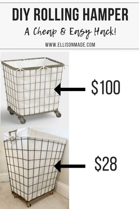 DIY Laundry Basket with Wheels room organization diy DIY Laundry Basket. DIY Laundry Basket with Wheels room organization diy DIY Laundry Basket with Wheels Laundry Basket On Wheels, Rolling Laundry Basket, Wire Laundry Basket, Laundry Basket Organization, Laundry Decor, Laundry Room Organization, Storage Baskets, Playroom Storage, Storage Organization