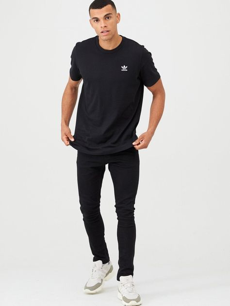 adidas Originals Essential T Shirt Black in 2020 | Black