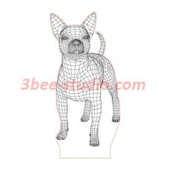 Chihuahua Dog 3d Illusion Lamp Plan Vector File For Laser And Cnc 3bee Studio 3d Illusions 3d Illusion Lamp Illusions