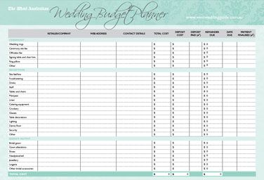 Simple Budget Template Printable  Wedding Budget Planner And