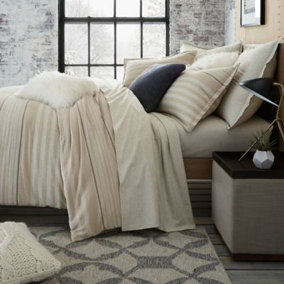 Ugg Lunar Stripe Cotton Flannel Full Queen Duvet Cover In Sesame