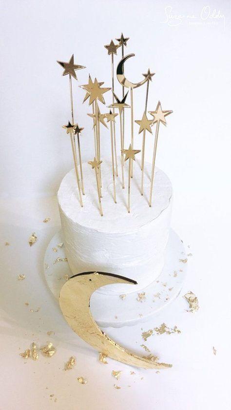 Star wedding cake topper, celestial wedding, gold wedding cake topper, star cake topper, moon and st