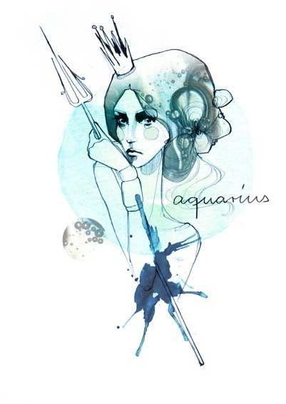 Aquarius horoscope illustration by Ekaterina Koroleva