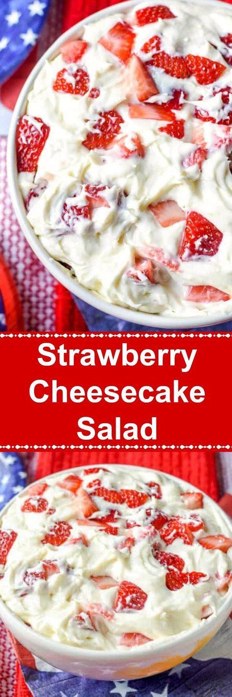 This Strawberry Cheesecake Salad is a sweet and creamy no bake dessert that tastes like a strawberry cheesecake in a bowl It is perfect for a summer party! strawberrycheesecake strawberrydessert c is part of Strawberry cheesecake salad - Strawberry Cheesecake Salad, Strawberry Recipes, Fruit Recipes, Cheesecake Recipes, Sweet Recipes, Dessert Recipes, Cooking Recipes, Strawberry Salads, Strawberry Tiramisu