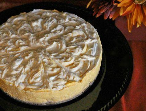 No-Bake Pumpkin Swirl Cheesecake with a Vanilla Wafer