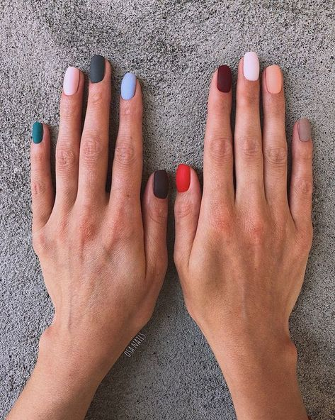 Perfect multi-colored manicure inspiration. Love the matte nail polish.