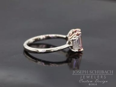 A recent custom design ring from our Scottsdale studio:  a Barely Pink Three Stone Emerald Cut Engagement Ring.   In Scottsdale? Come visit our studio!