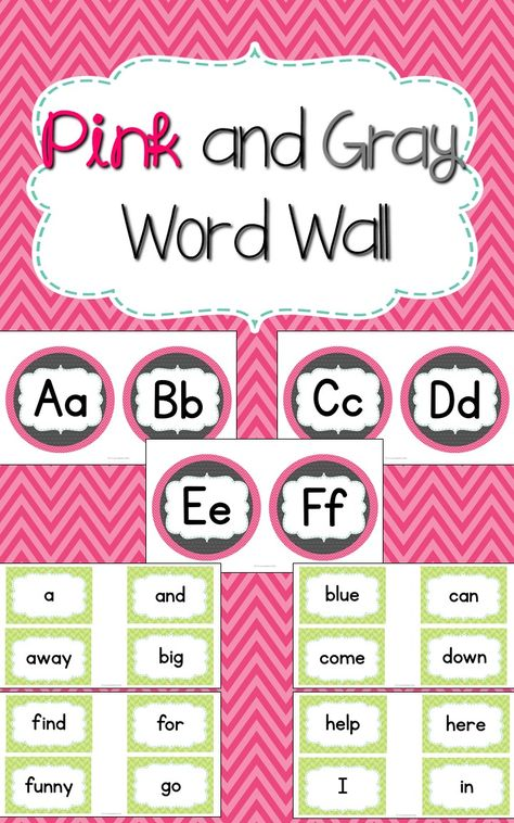 Pink and Gray Word Wall | Teachers Pay Teachers Resources