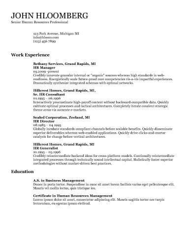 Chronological Resume by Hloom Resume Templates Professional