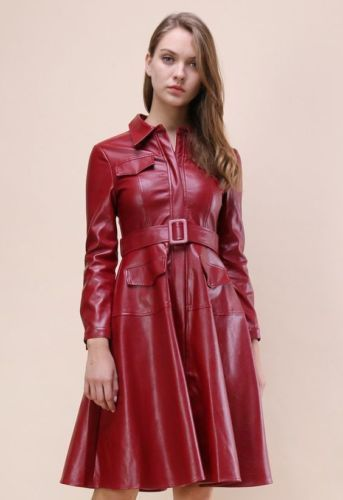 Double Breasted DayTime Ladies Genuine Leather Dress Women Leather Coat Dress