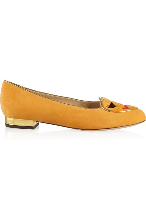 Charlotte Olympia|Trick Or Treat embroidered suede slippers|NET-A-PORTER.COM