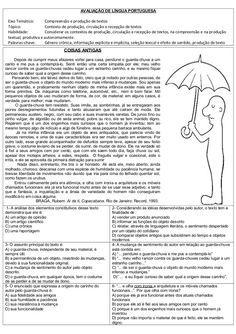 Avaliacao De Portugues Com Matriz De Referencia Com Imagens