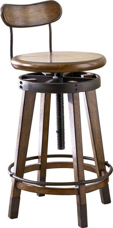 Omari Adjustable Height Swivel Bar Stool Bar Stools Swivel Bar