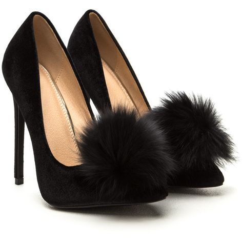 c25661a0805 You re Da Pom-Pom Pointy Velvet Pumps (€46) ❤ liked on Polyvore featuring  shoes