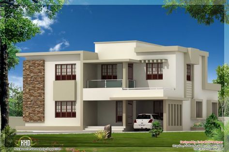 Modern Flat Roof House Plans Beautiful 4 Bedroom Contemporary Flat Roof Home Design Kerala Home Design Flat Roof House Designs House Plans Uk Flat Roof House