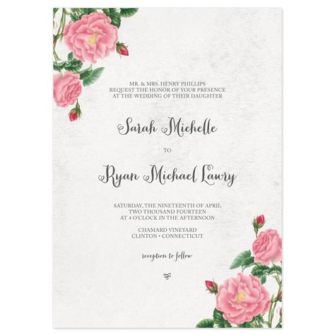 Budding Blooms Wedding Invitations - format for invitation