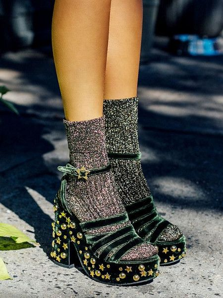 Velvet Heels & Socks - How to Spice Up Your Wardrobe with Maximalist Shoes  - Photos