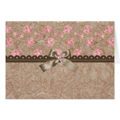 Vintage Elegant Pink Rose Card - elegant gifts gift ideas custom presents