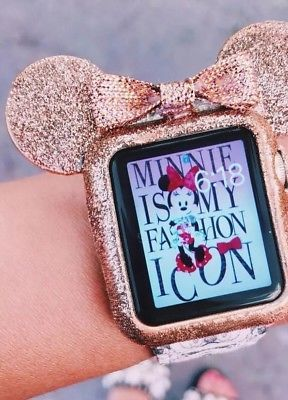 new style 045a1 9cf3c Rose Gold Glitter Case #Mickey Mouse Ears#applewatch | Disneyland ...