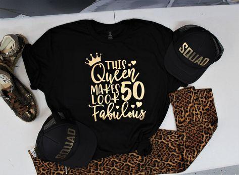 Fifty Birthday Gift For Her Pink Flamingo Birthday Shirt Tee T 50 And Fabulous Luau Birthday Shirt 50th Birthday Shirt For Women