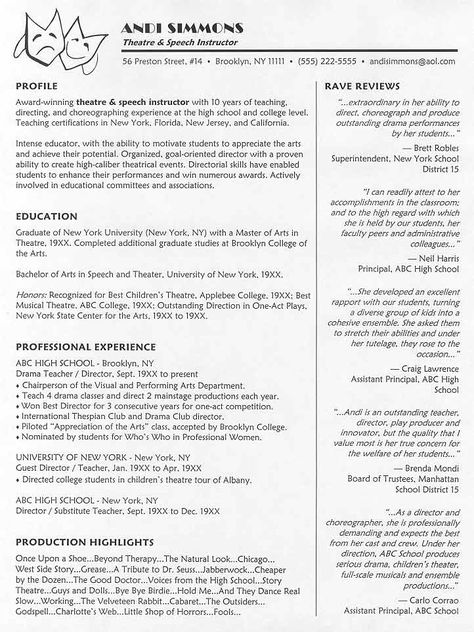 Theatre Instructor Resume Sample Teacher Resume Examples Teacher Resume Acting Resume