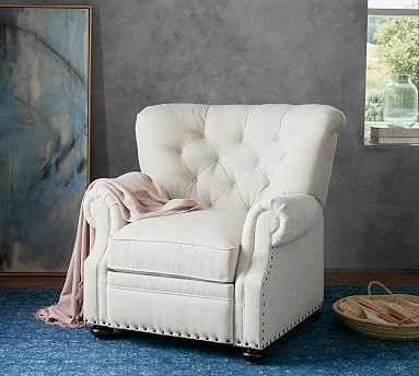 Lansing Tufted Upholstered Recliner With Nailheads Furniture Armchair Upholster
