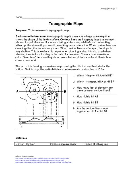 Topographic Maps Worksheet Pictures Topographic Maps Worksheet