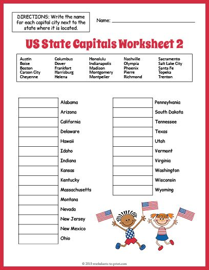 Printable Worksheets For States And Capitals
