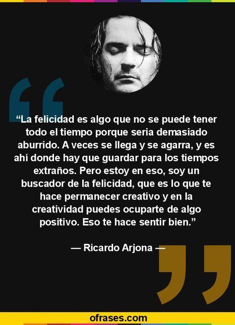 Frases de Ricardo Arjona - La felicidad es algo que no se puede tener todo el tiempo porque seria demasiado aburrido. A veces se llega y se agarra, y es ahí donde hay que guardar para los tiempos extraños. Pero estoy en eso, soy un buscador de la felicidad, que es lo que te hace permanecer creativo y en la creatividad puedes ocuparte de algo positivo. Eso te hace sentir bien.