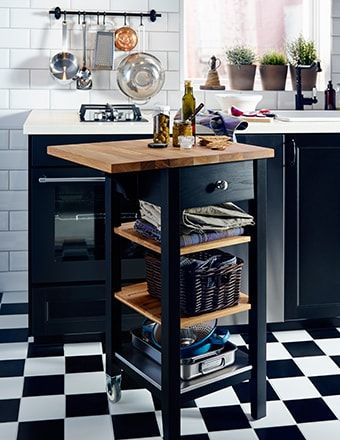 Ikea Wooden Kitchen Trolley With Drop Leaf Extension Being Used As A Worktop Kitchen Cart Kitchen Trolley Kitchen Remodel Small