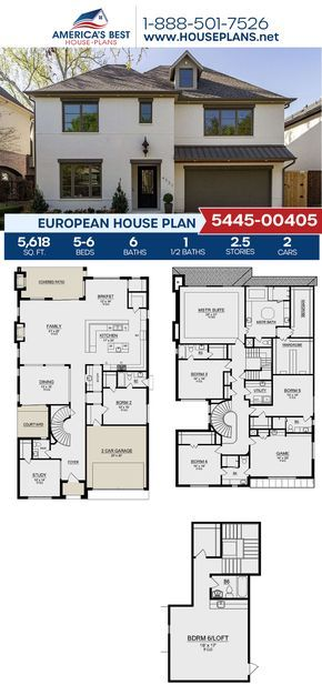 House Plan 5445 00405 European Plan 5 618 Square Feet 5 6 Bedrooms 6 5 Bathrooms In 2021 Dream House Plans House Plans Multigenerational House Plans